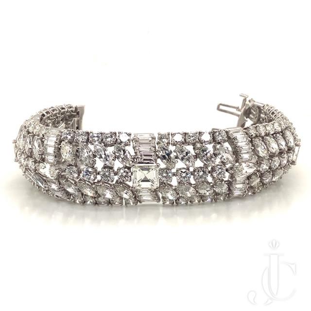 Wide 1950's Diamond Bracelet
