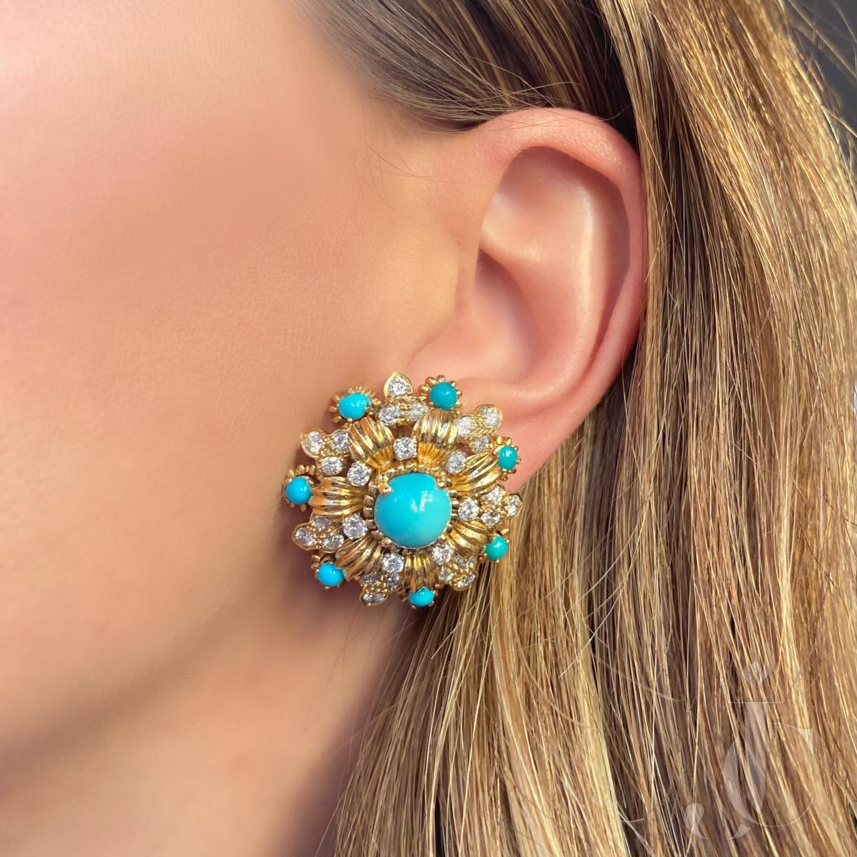 18kt Turquoise and Diamond Earclips