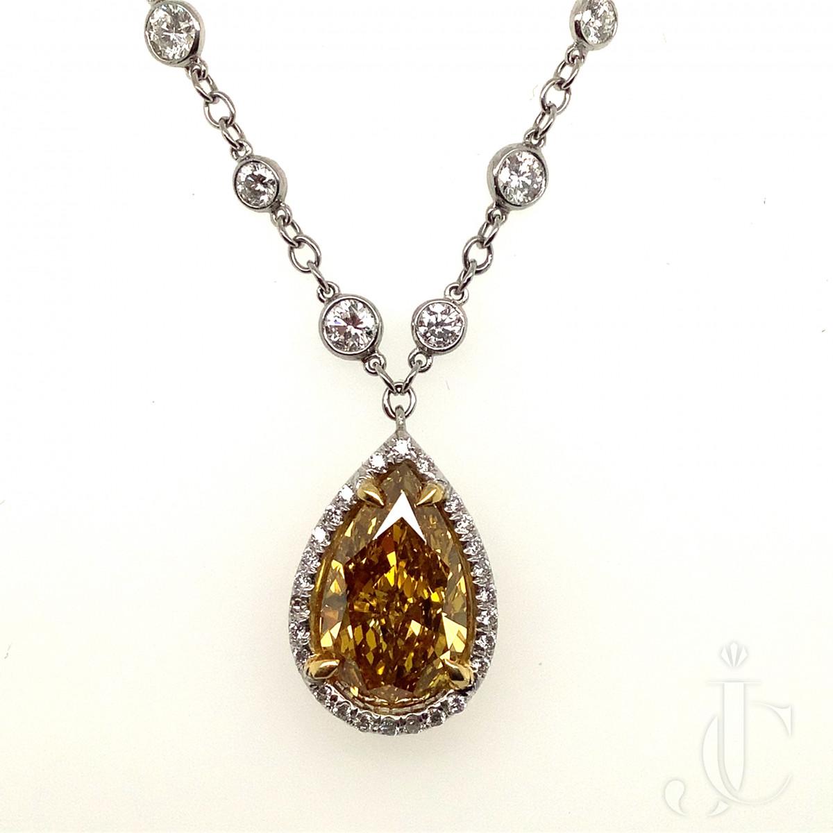 3.11ct Natural Fancy Color Pear Shape Diamond Pendant