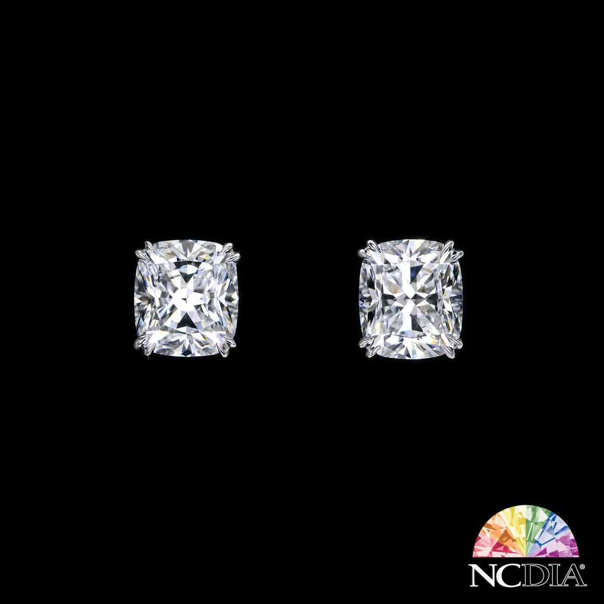 Over 5 cts ea E VVS2 Cushion Cut Diamond Studs, GIA reports available