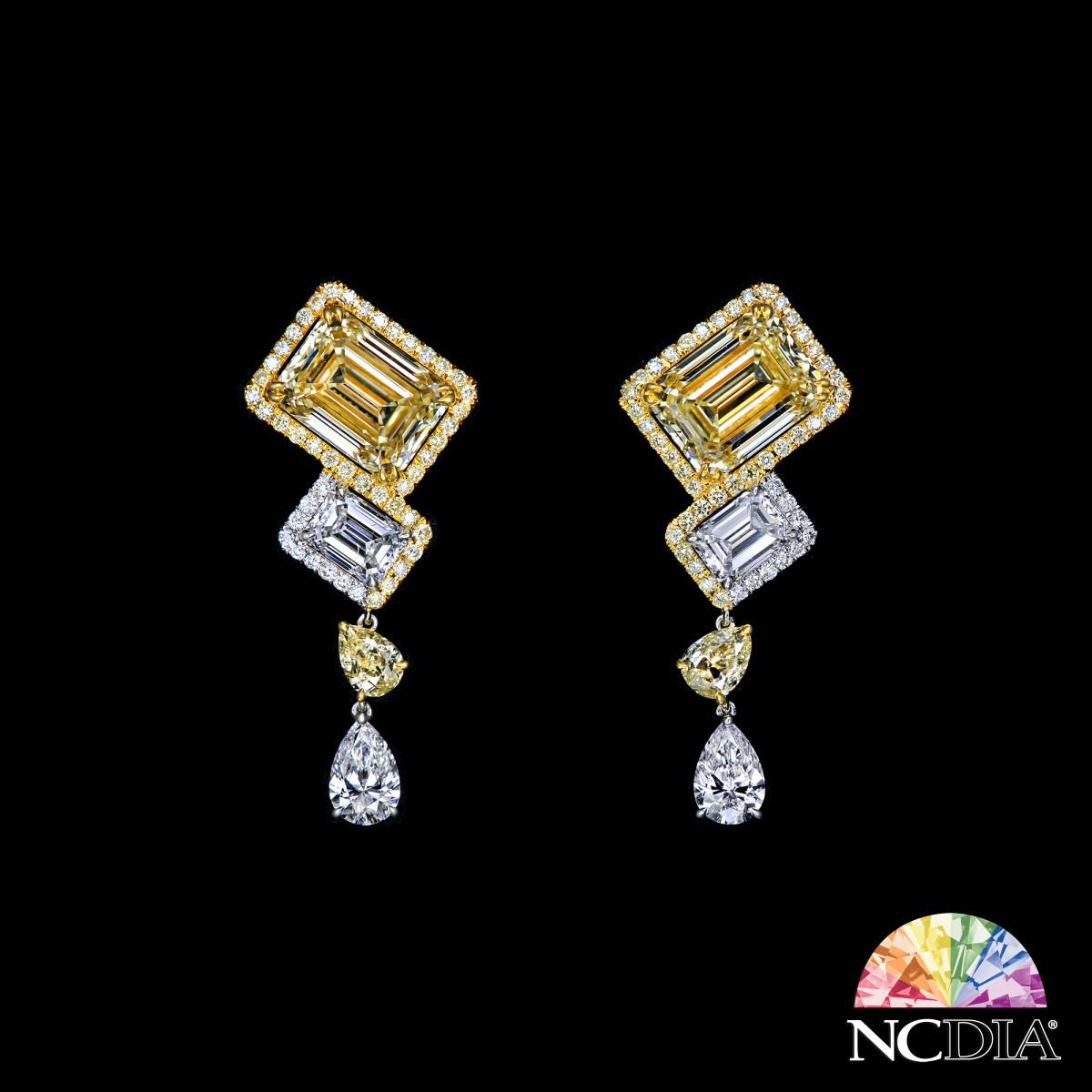 Over 5 cts ea Emerald Cut Fancy Light Yellow Diamond Earrings, GIA reports ava.
