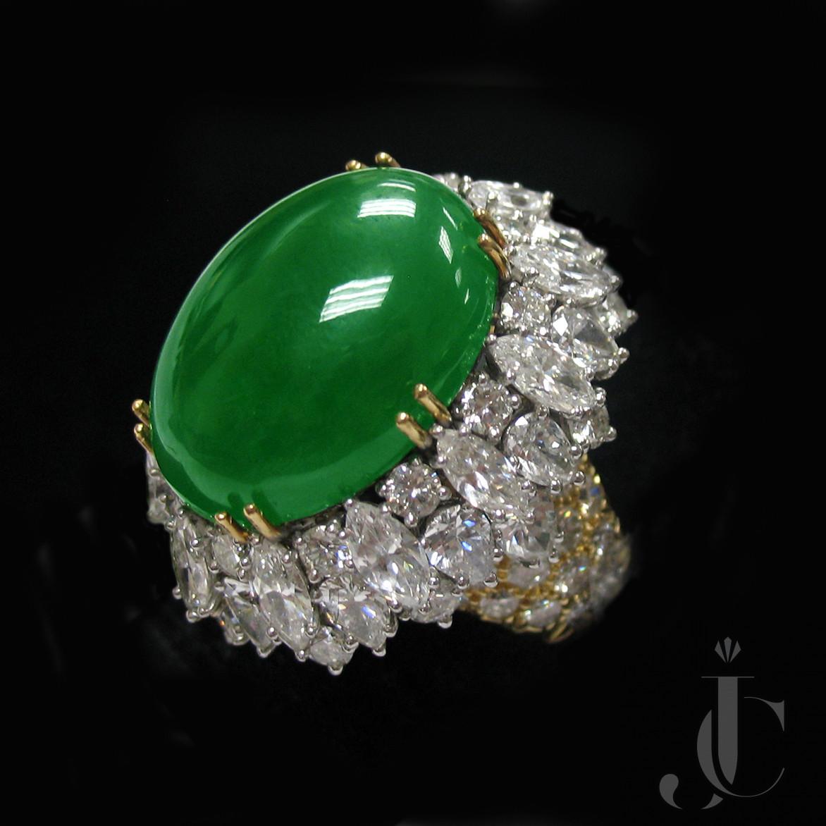 Platinum Jade and Diamonds Ring, circa 1965