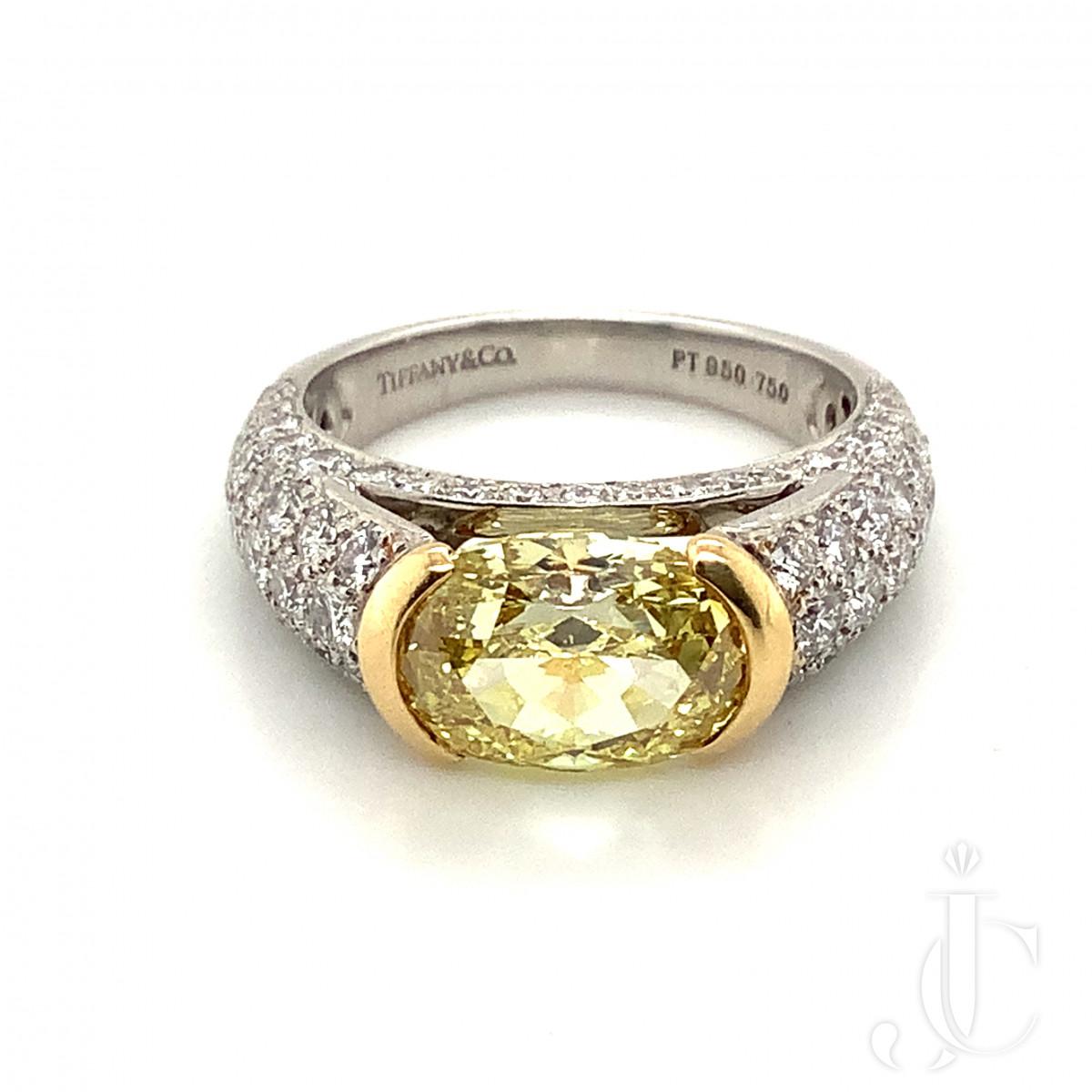 Tiffany Fancy Intense Yellow Oval Diamond Ring