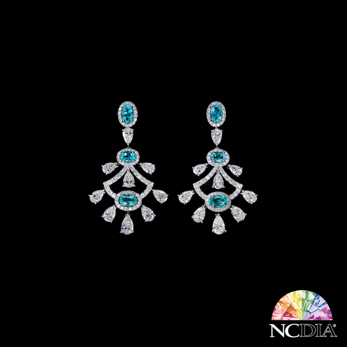 Brazilian Paraiba Diamond Earrings, GRS certs ava.