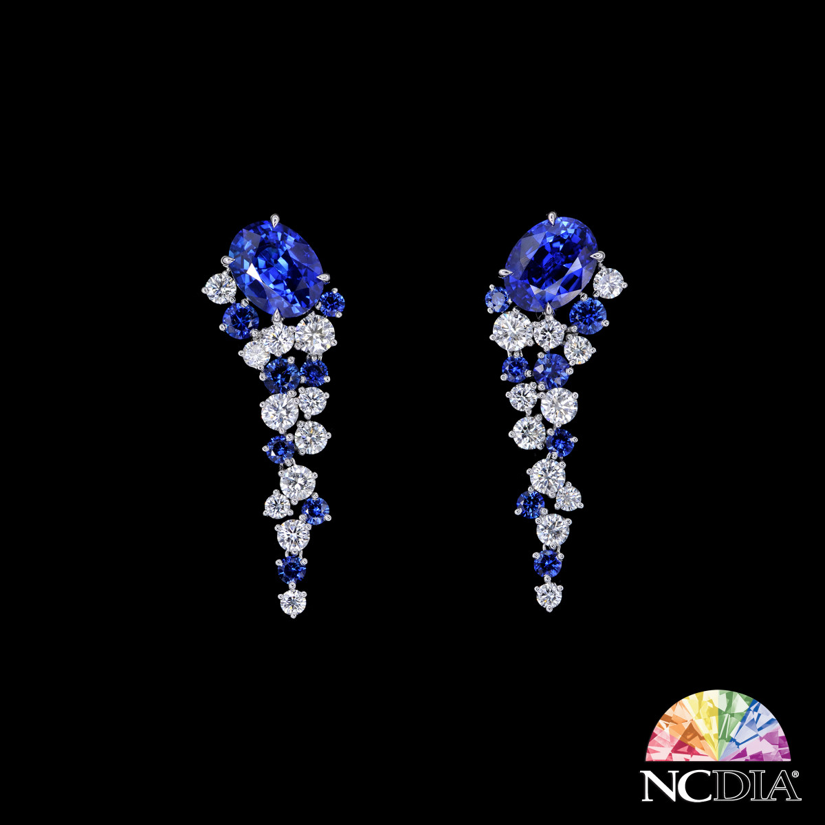 Over 3 cts ea Royal Blue Sri Lankan Sapphire Diamond Earrings, GRS certs available for main stones