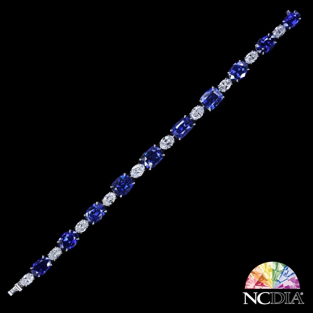 Sri Lanka Royal Blue Sapphire Diamond Bracelet, GRS/GIA certs ava.