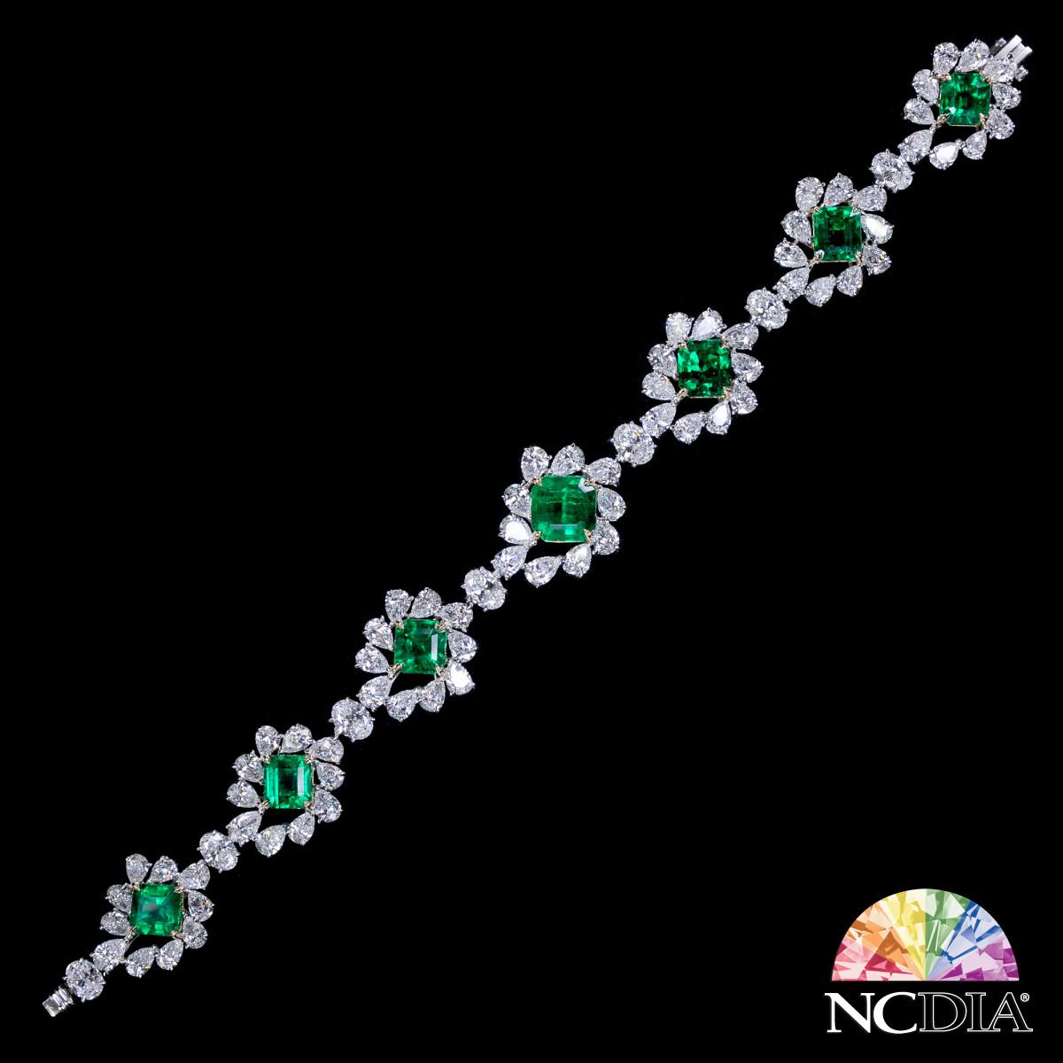 """Green Magnolia"" Columbian Emerald Diamond Bracelet, GRS/GUB certs available"