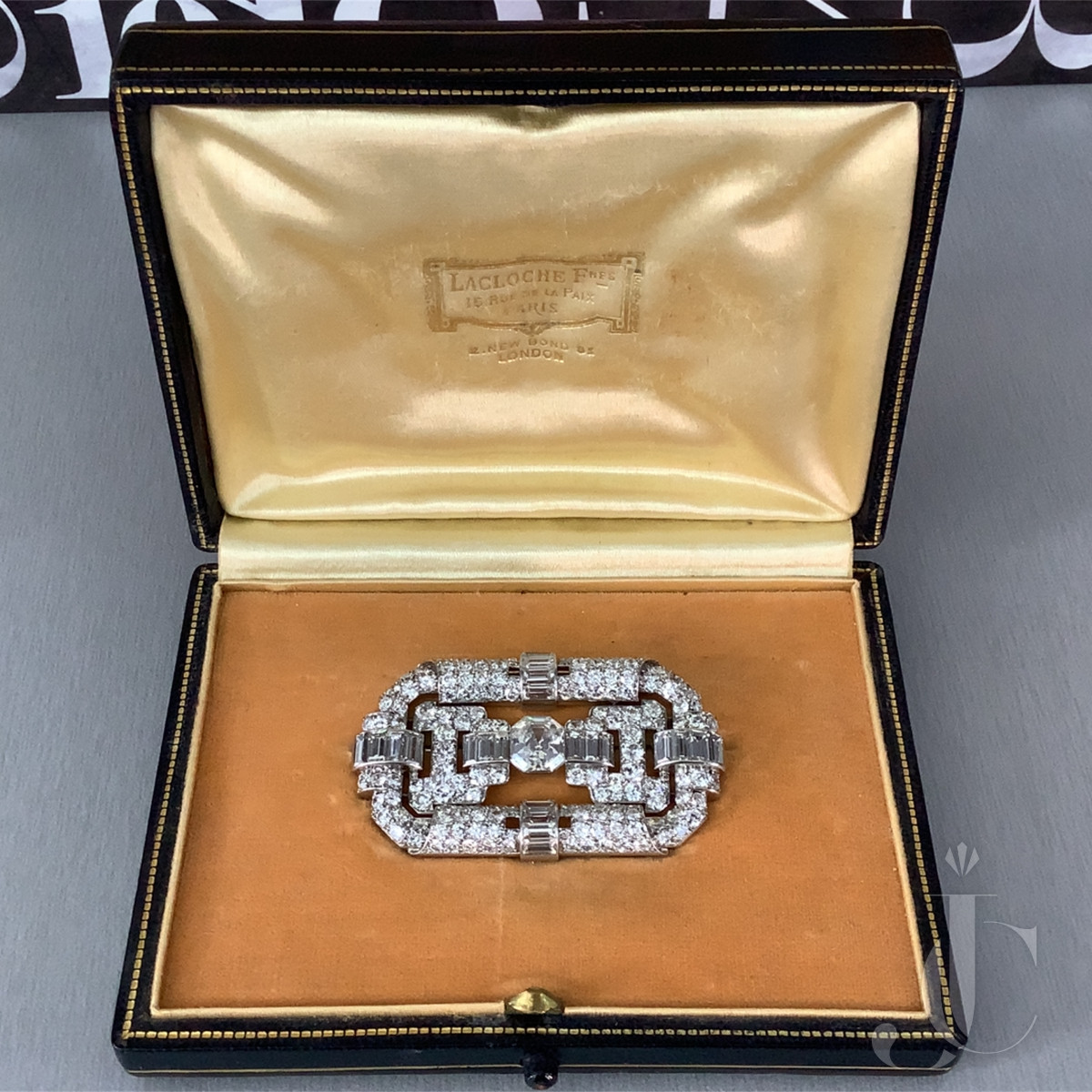 LaCloche Platinum and Diamond Brooch