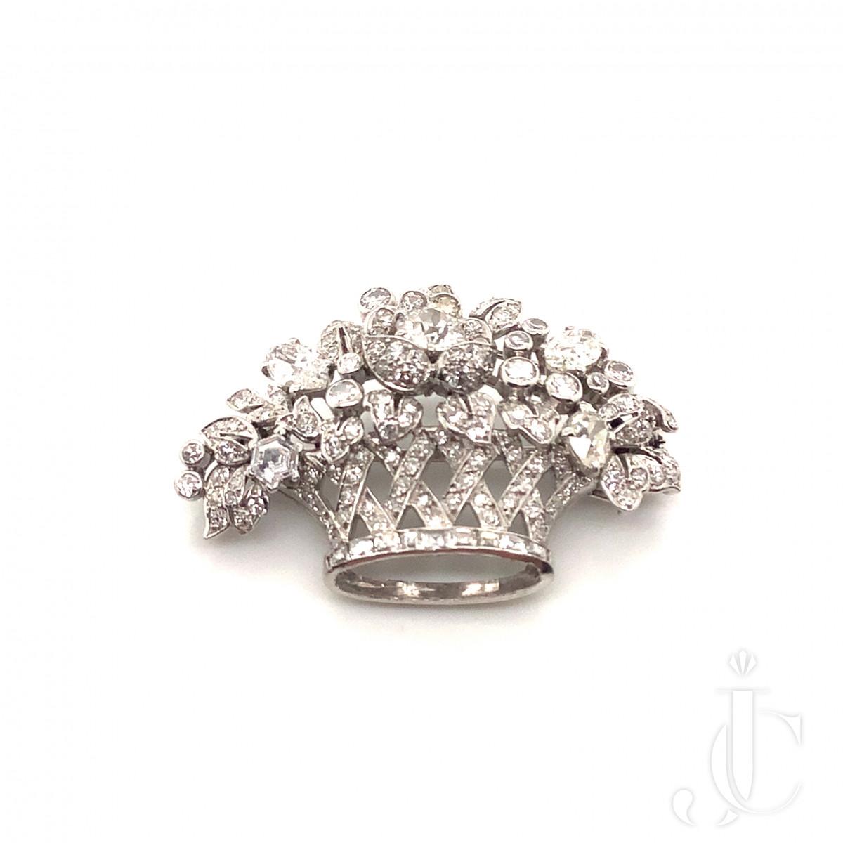 Cartier Diamond Flower Basket Brooch