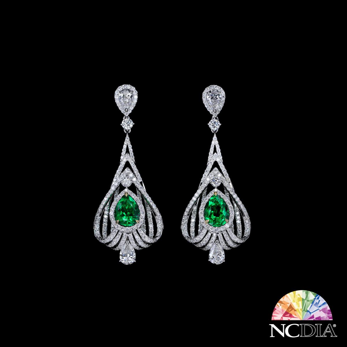 Pear Shape Columbian Emerald Diamond Earrings,  GUB reports ava.