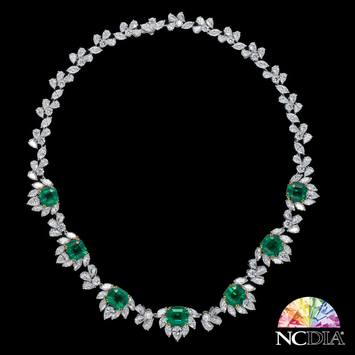 """Nobility"" Columbian Emerald Diamond Necklace, GUB certs ava."