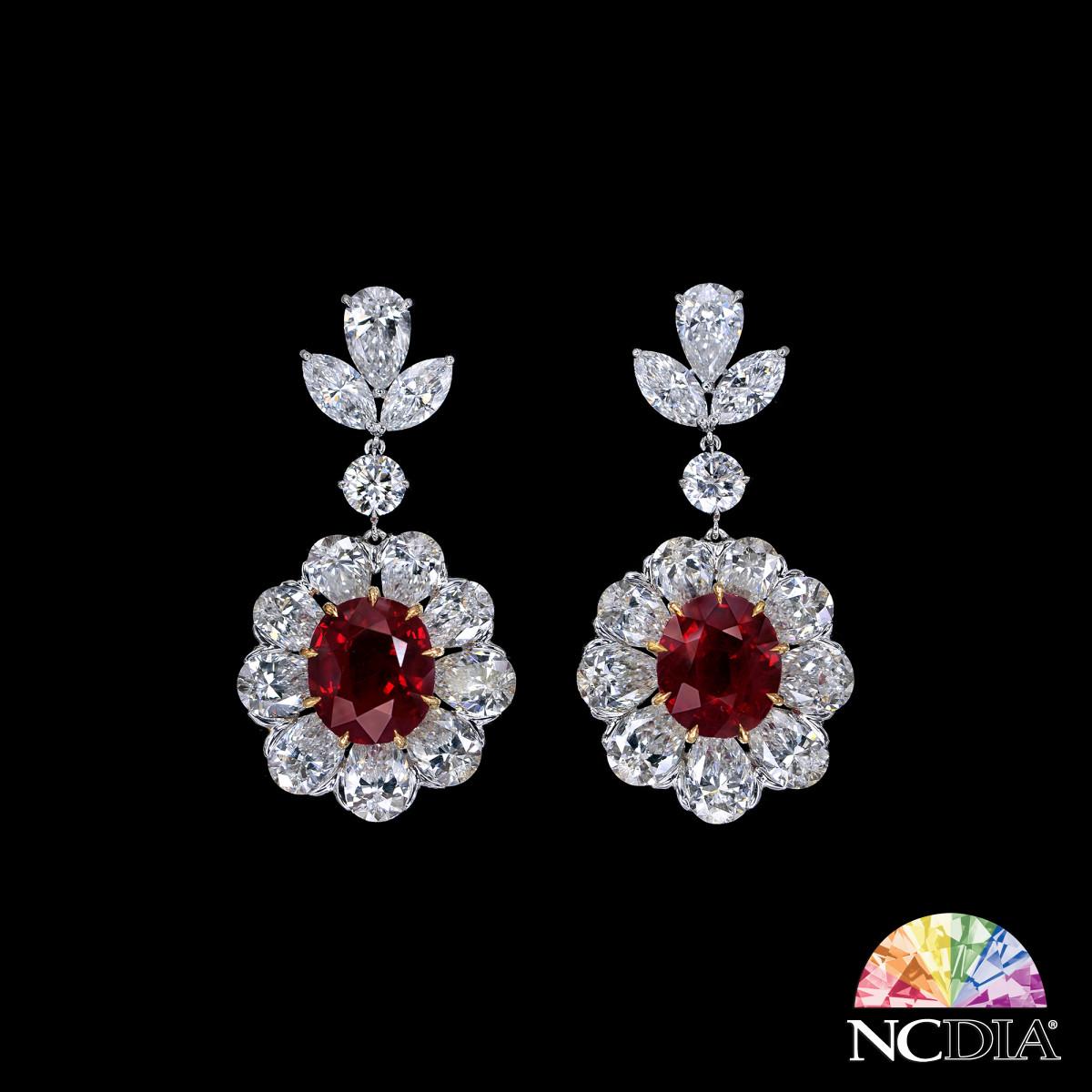 Over 6 cts ea Oval Shape Pigeon Blood Burmese Ruby Diamond Earrings, GRS & GUB certs ava.
