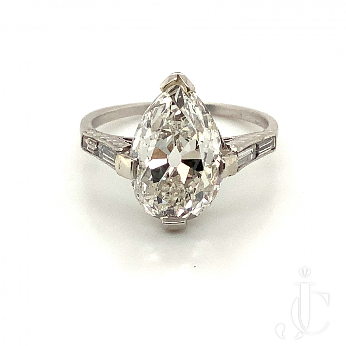 Old Mine Pear Shape Ring Solitaire