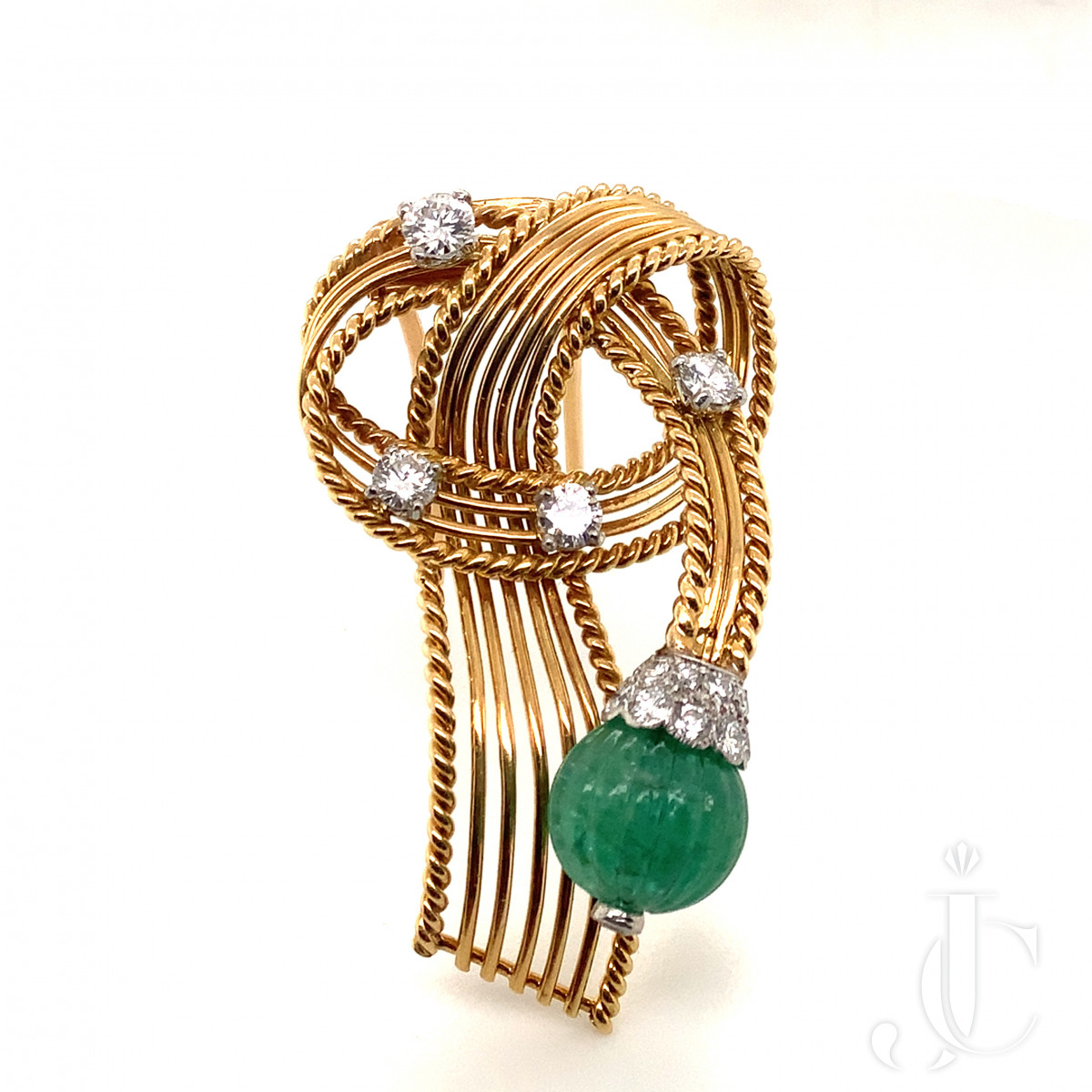 Cartier Carved Emerald and Diamond Brooch