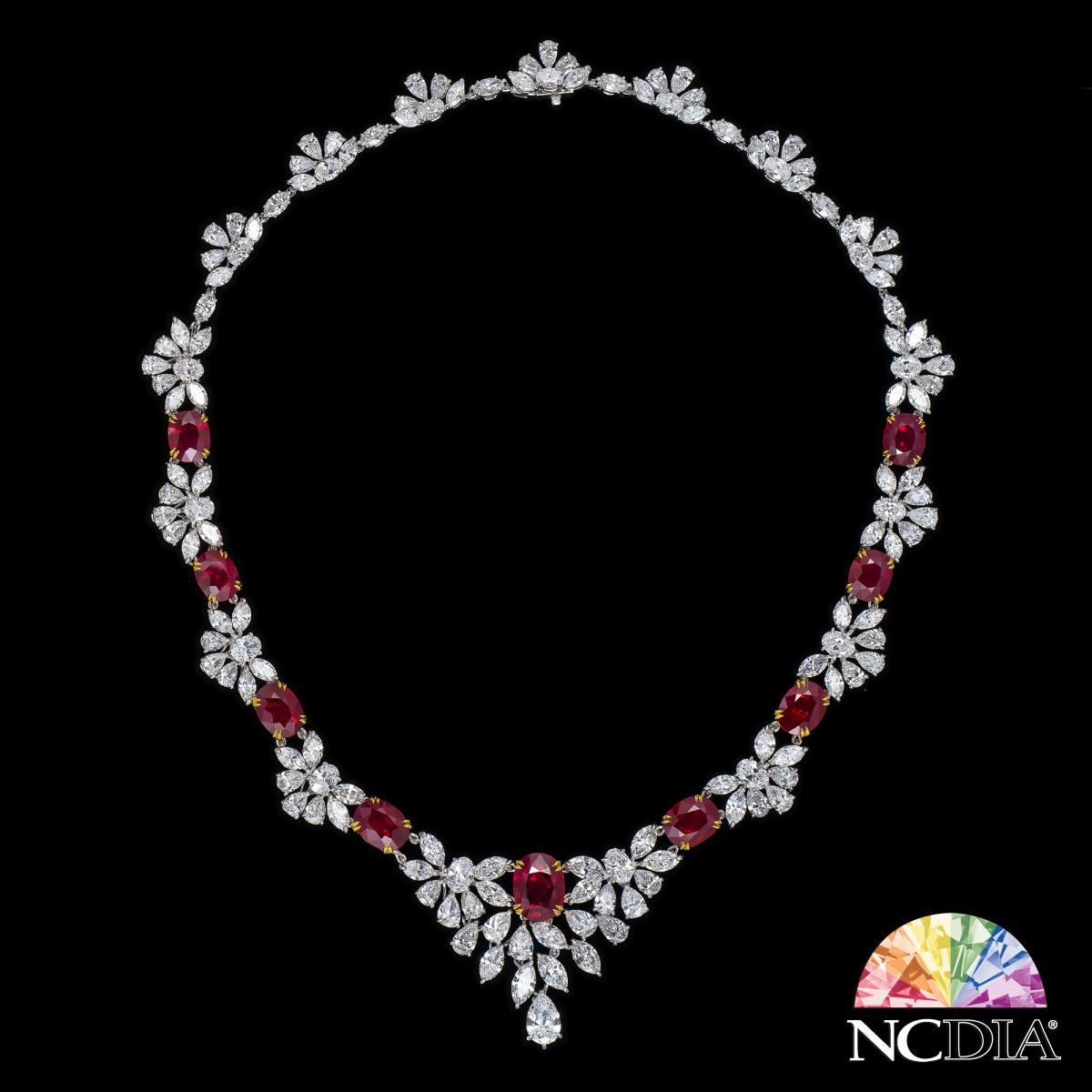 """Ruby Rosa"" Diamond Necklace, GRS & GIA certs ava."