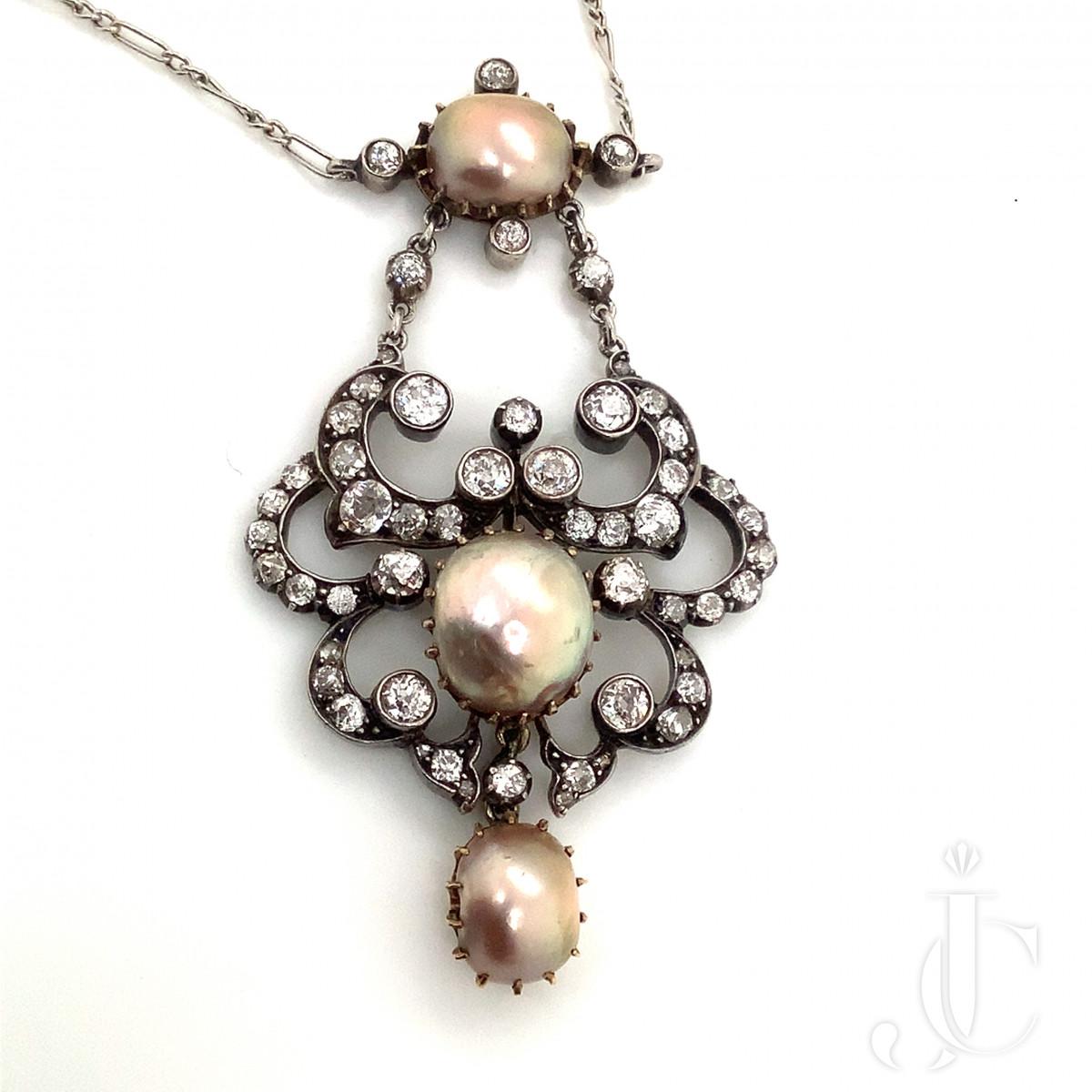 Victorian Diamond and Pearl Sautoir