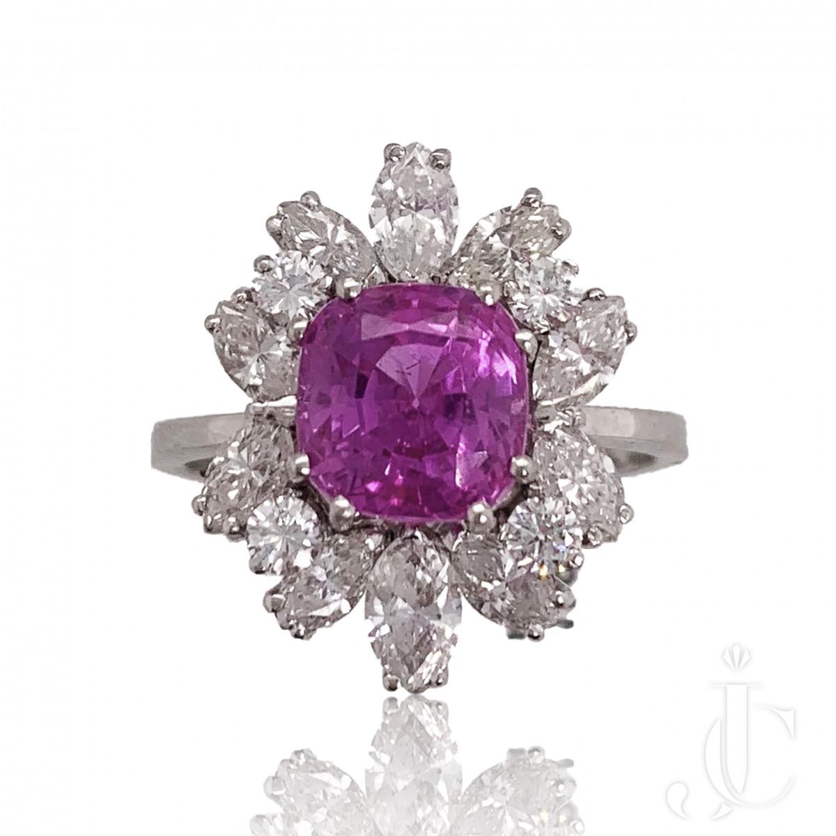 Natural Pink Sapphire Diamond Ring