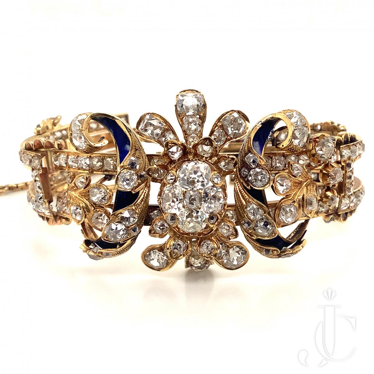Victorian Blue Enamellet Diamond Bracelet