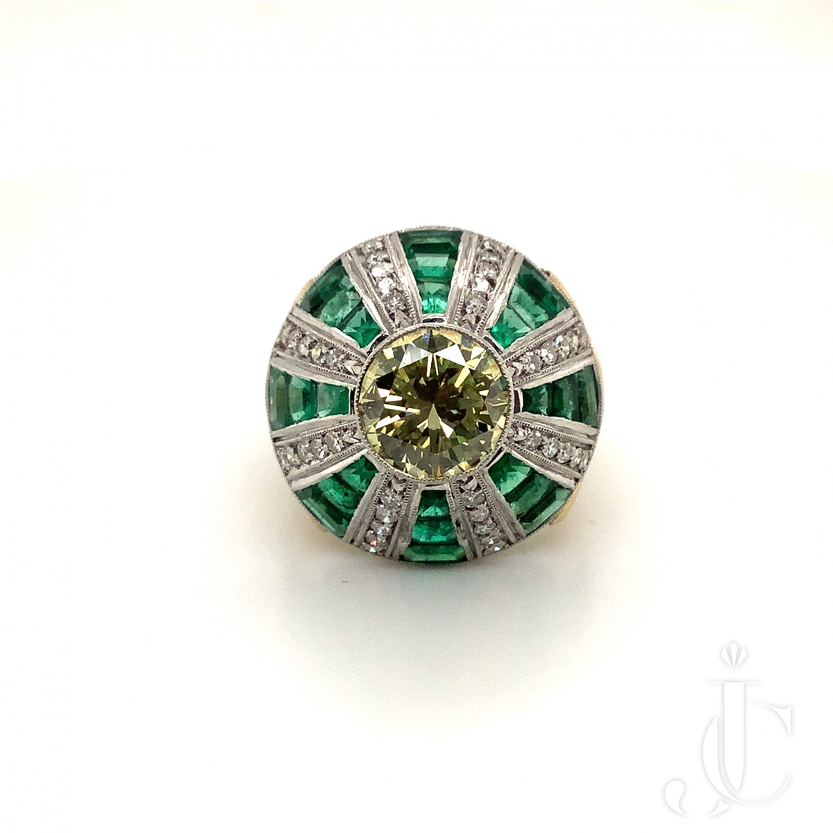 Yellow Diamond and Emerald Dome Ring