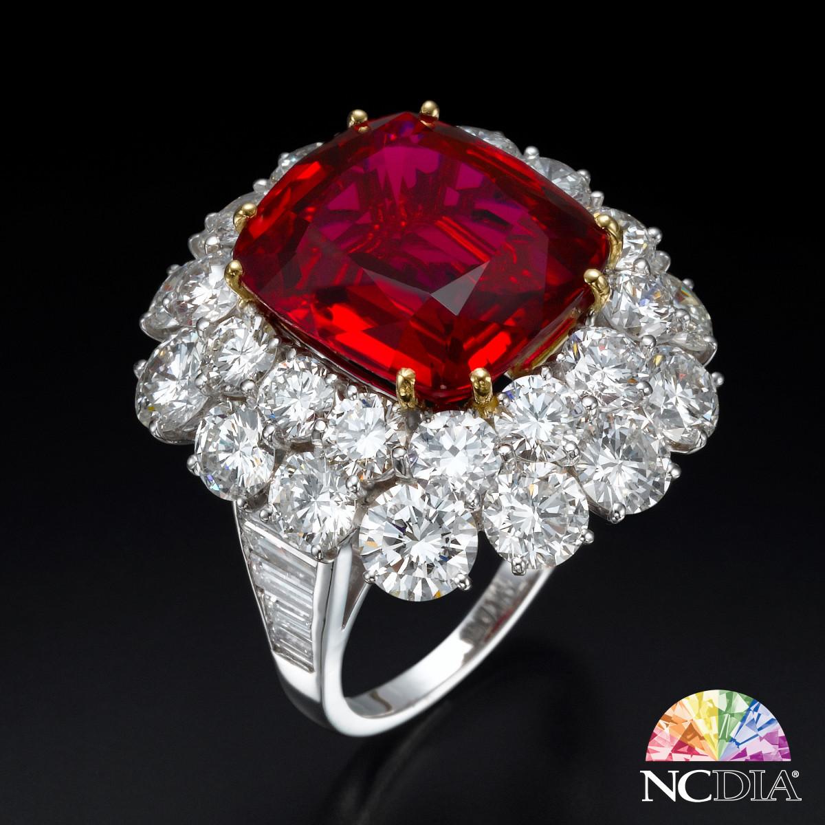 14ct Cushion Cut Thai Ruby Diamond Ring, GUB cert ava.