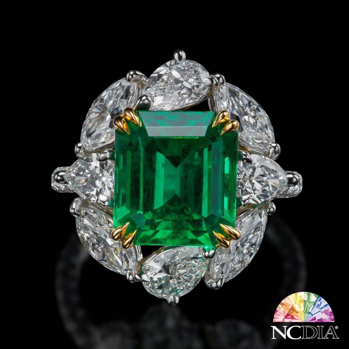 5.48ct No Clarity Enhancement Ethiopia Emerald Diamond Ring, SSEF cert ava.
