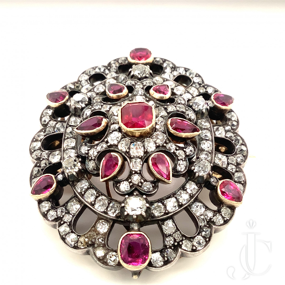 Georgian Diamond and Ruby Brooch