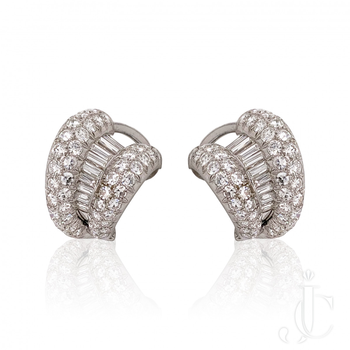 1960s Platinum Diamond Earrings