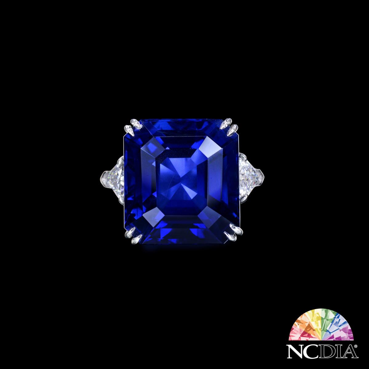 Over 27ct Unheated Emerald Cut Royal Blue Burmese Sapphire Diamond Ring, GUB/SSEF cert ava.