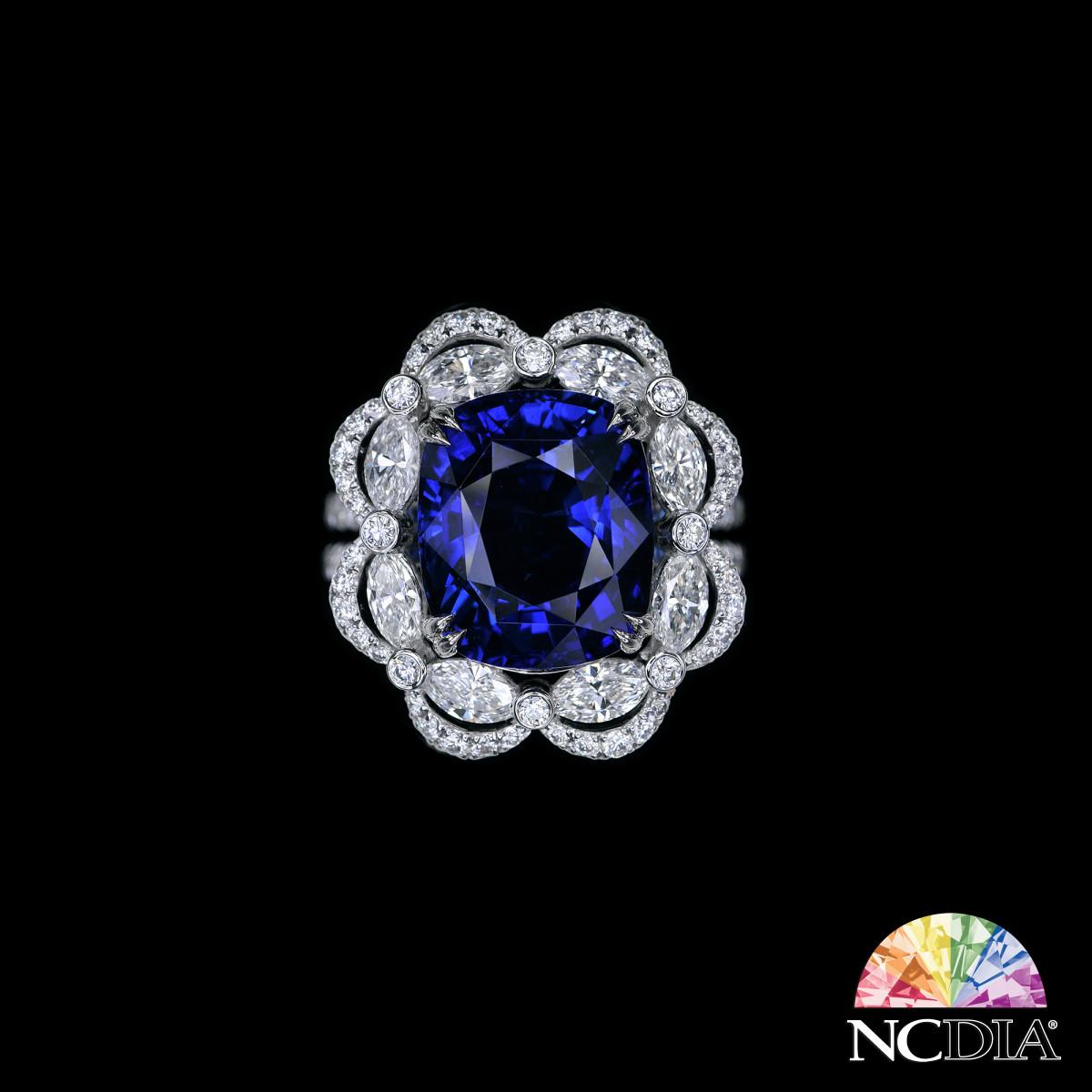 Over 8ct Cushion Cut Royal Blue Sri Lankan Sapphire Diamond Ring, GRS cert ava.