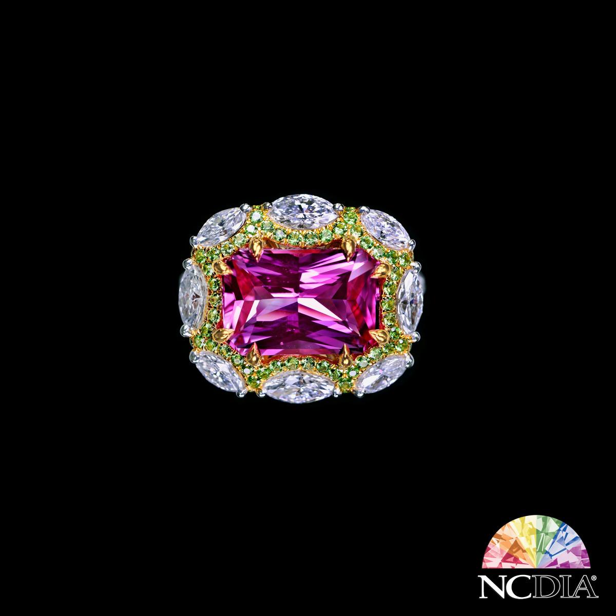 5.78ct Unheated Vivid Pink Sri Lankan Sapphire Diamond Ring, GRS & CIA certs ava.