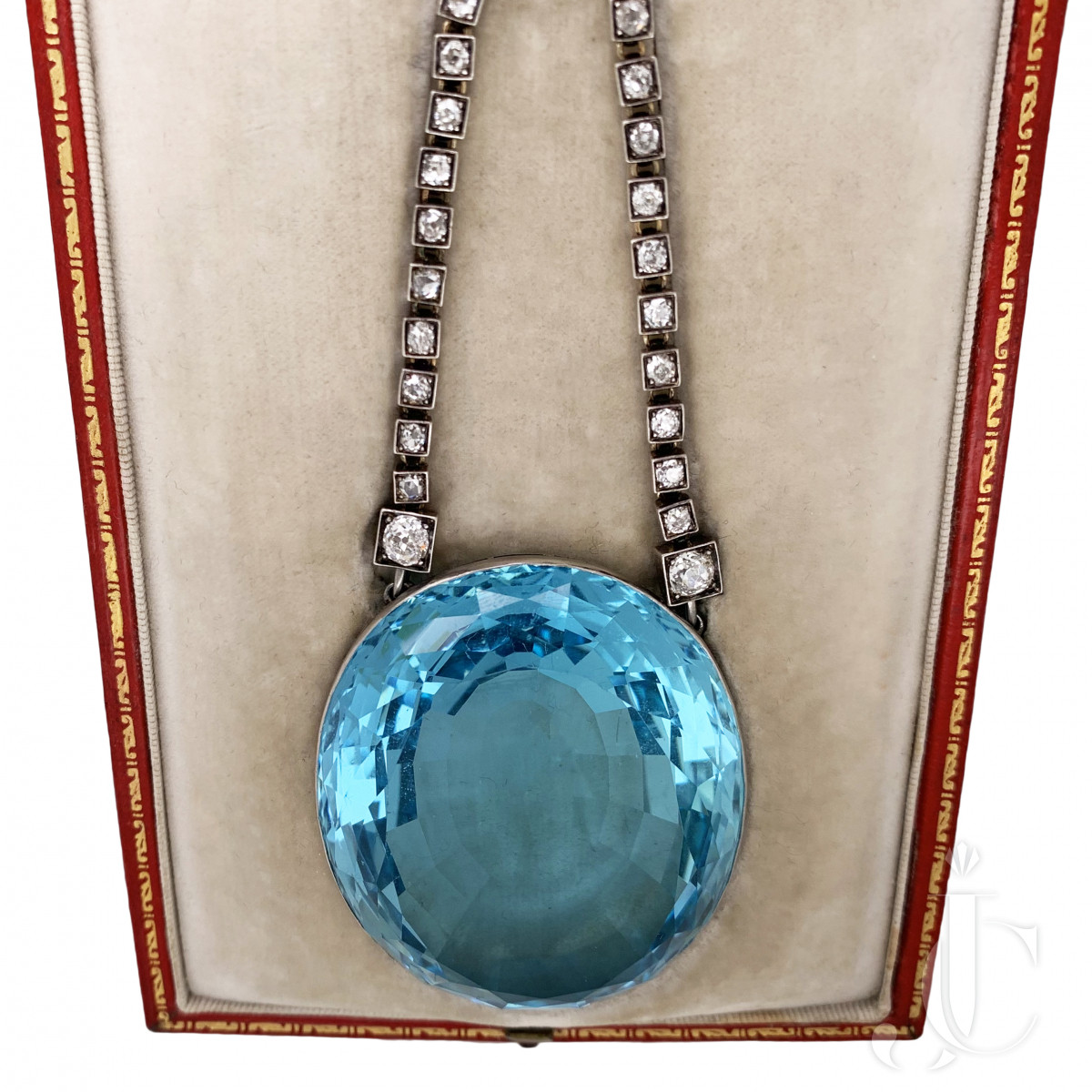 One of a Kind Antique Aquamarine Diamond Pendant