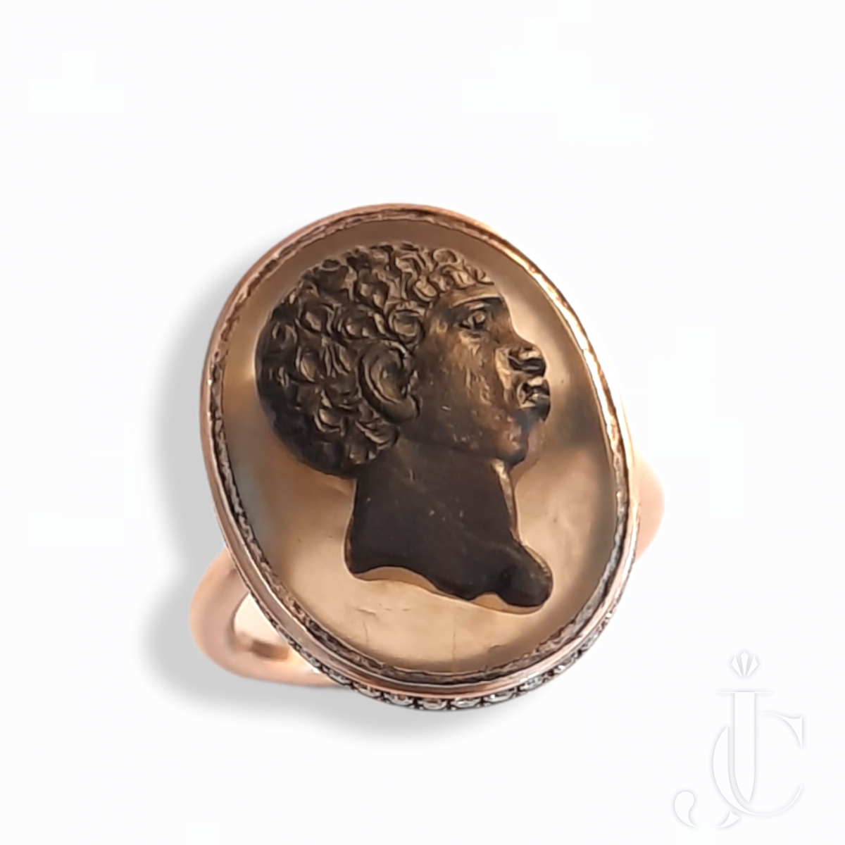 19th Century cameo in modern gold and diamond ring