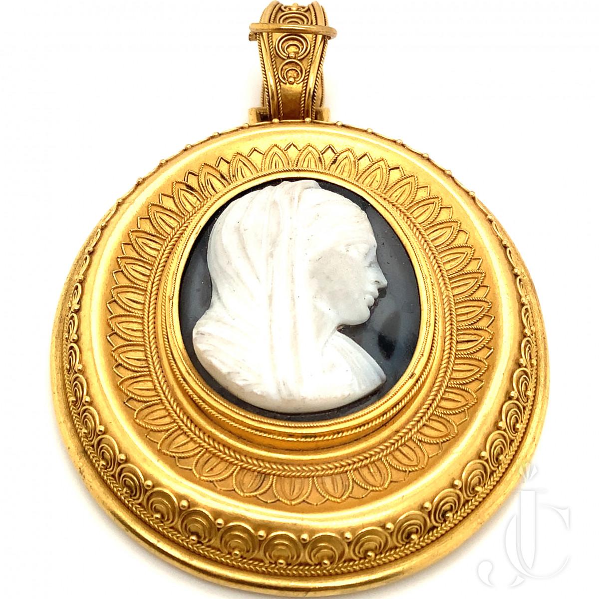 Victorian Stone Cameo Pendant
