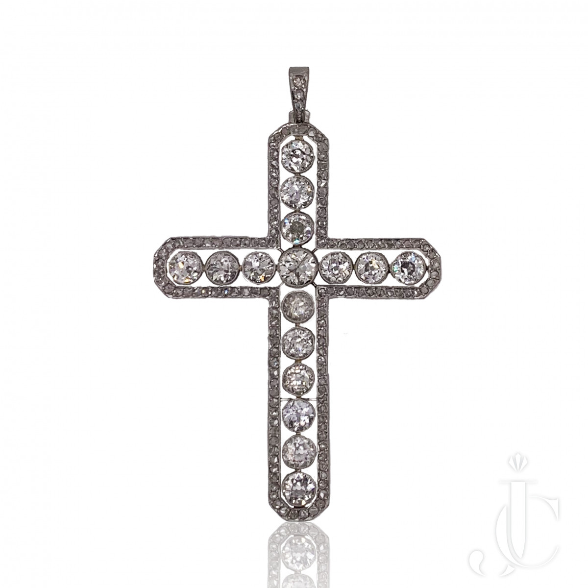 Edwardian Platinum Diamond Cross Pendant