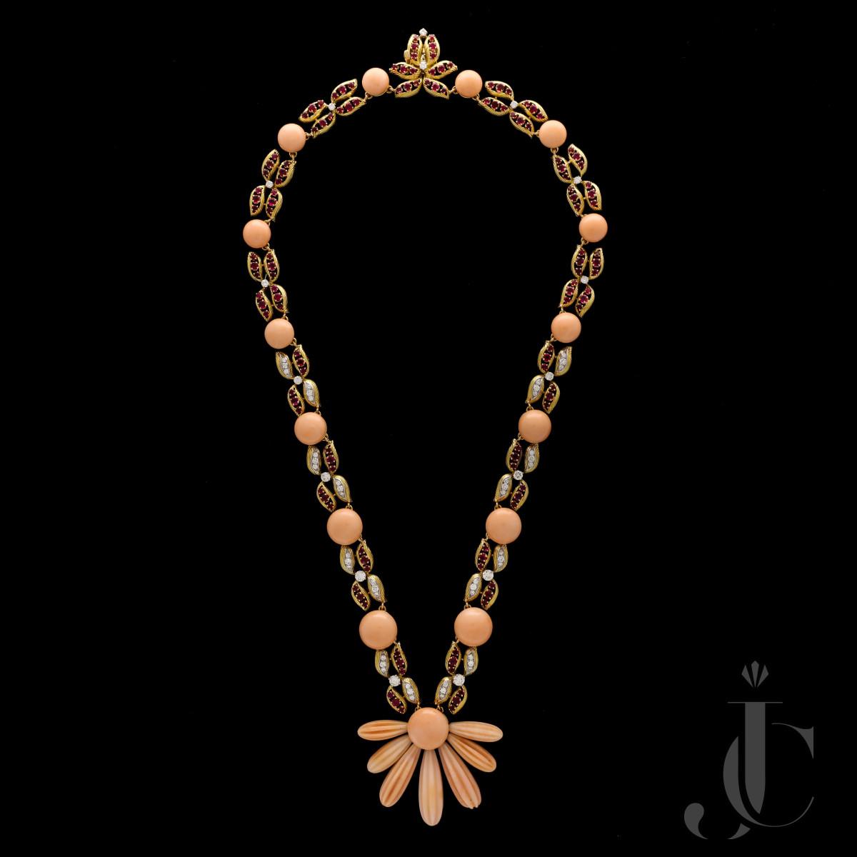 Cartier - Vintage Coral Ruby Diamond Sautoir Necklace 1971