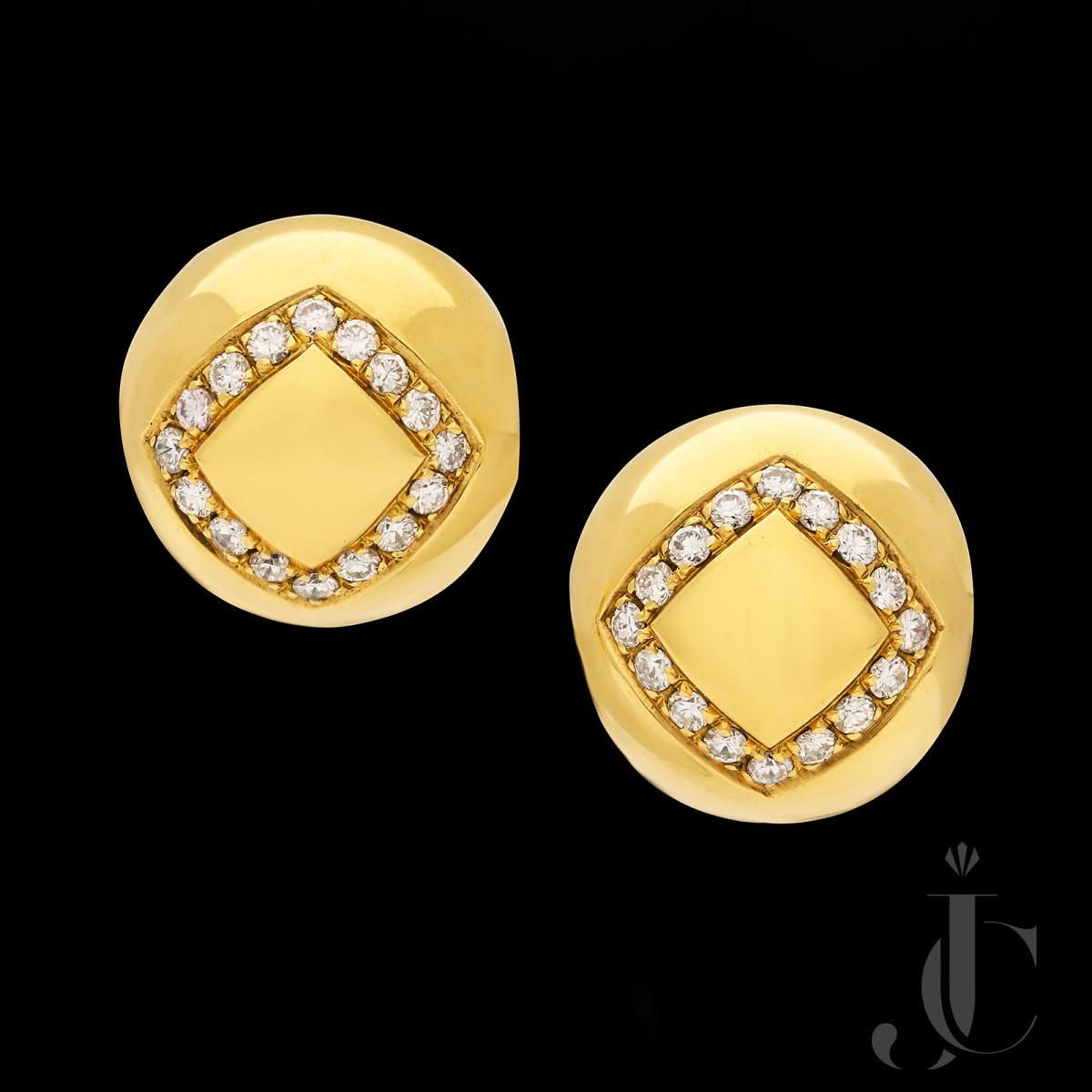 Bulgari- Diamond & Gold Spheres Earrings 1970s