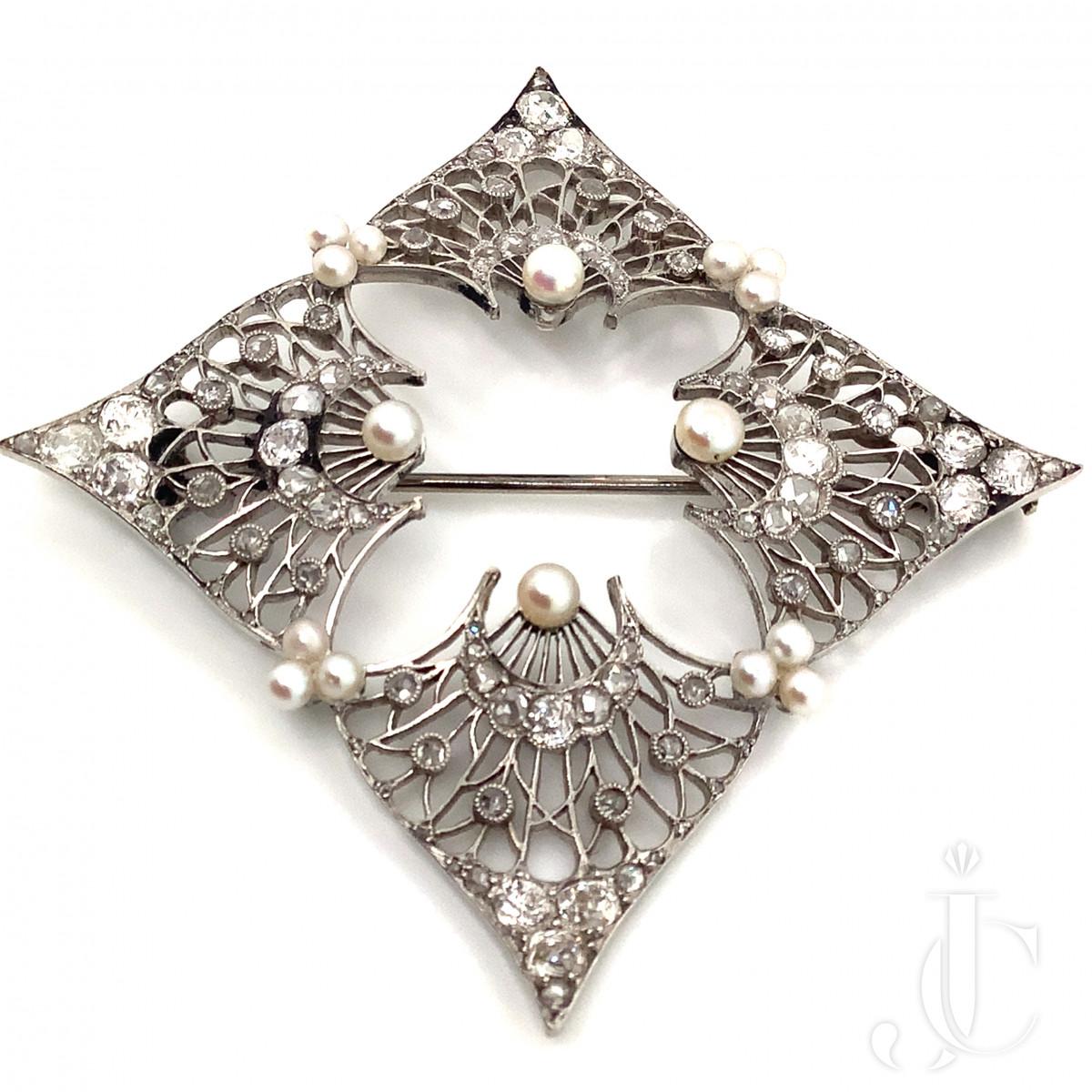 Edwardian Diamond and Seed Pearl Brooch