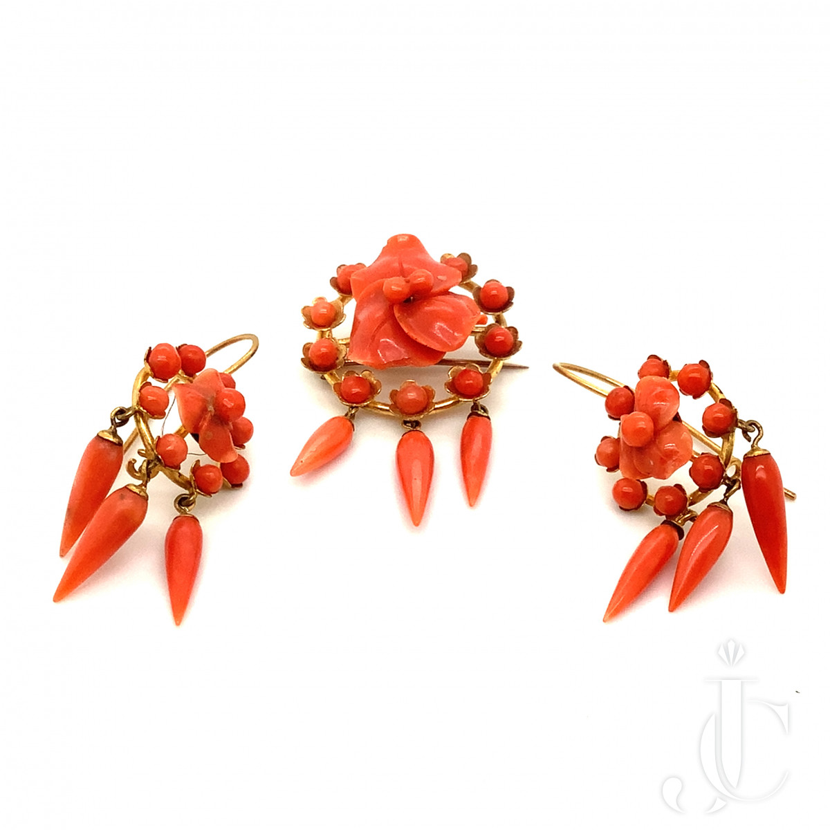Coral Pin and Earrings