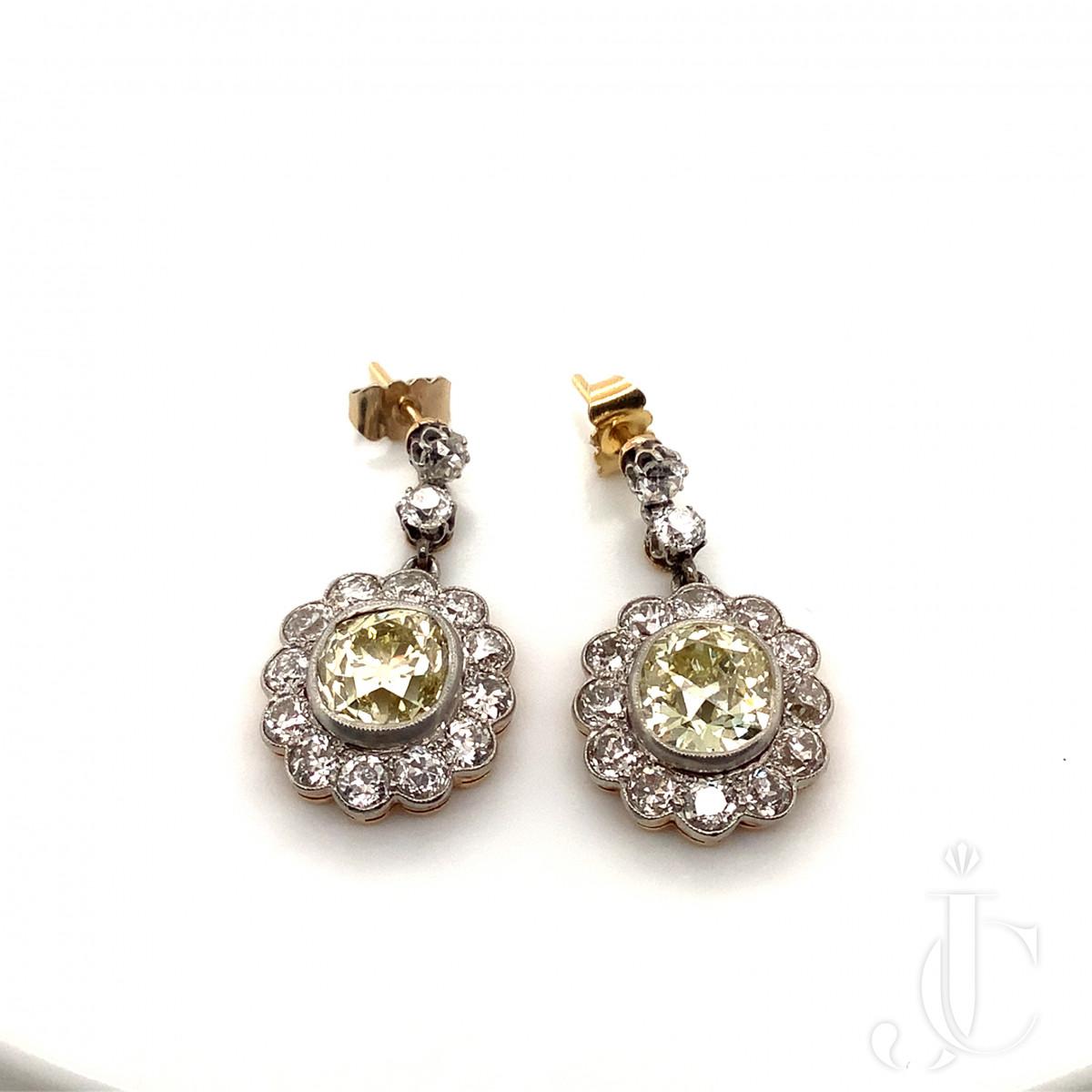 Pair of Edwardian Yellow Diamond Cushion Earrings