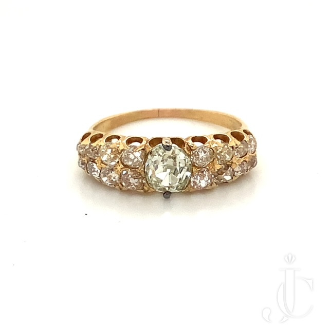 Victorian Light Green Diamond Ring