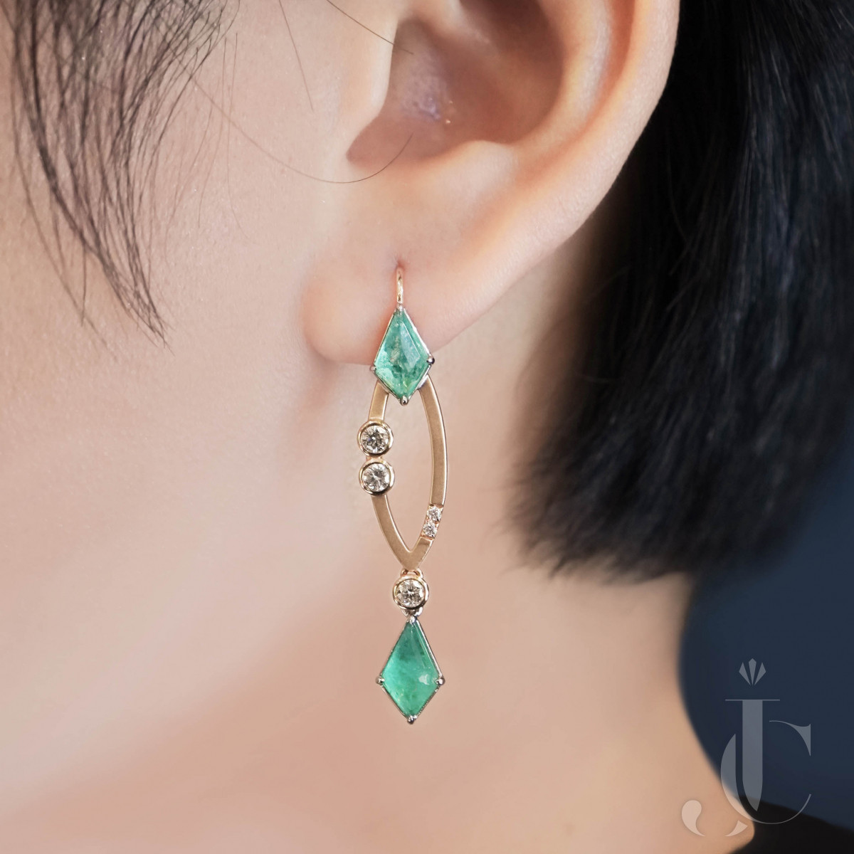 18K Gold 3.35 Carat Kite Shaped Colombia Emeralds & White Diamond Dangle Earring