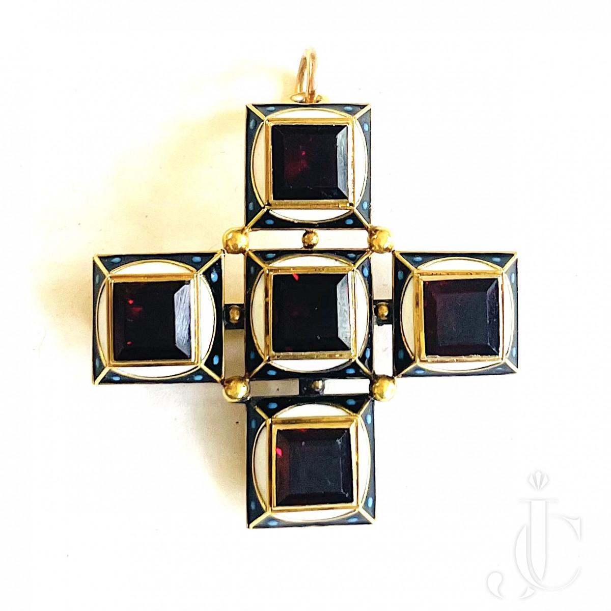 Enamel Garnet Cross Pendant/Brooch
