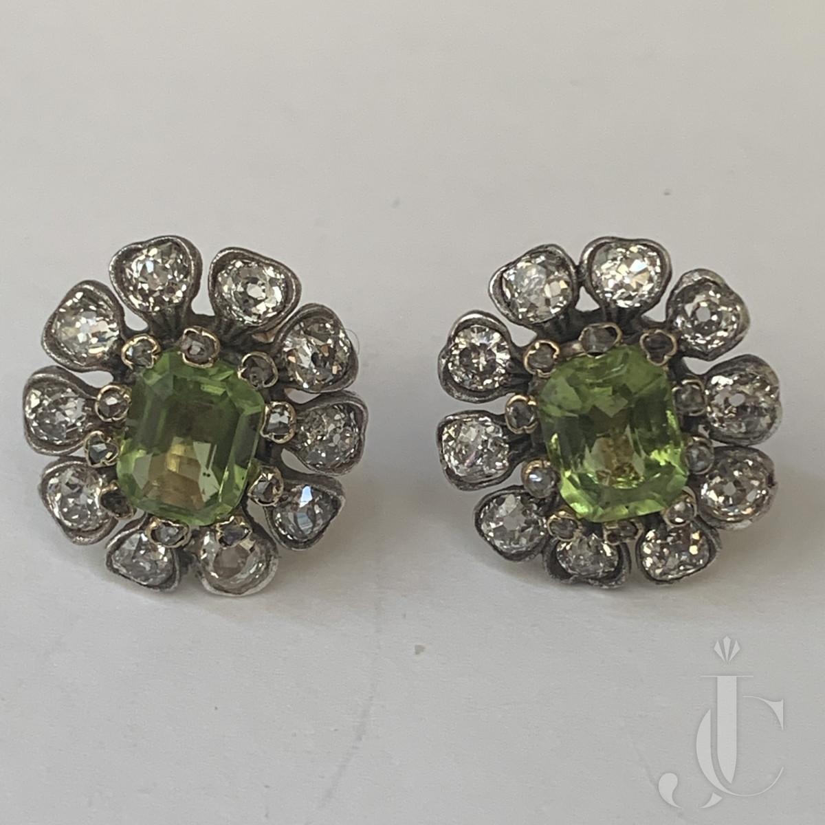 Peridot diamond earrings