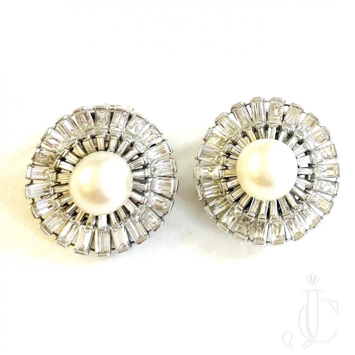 Pearl Diamond Ear Clips