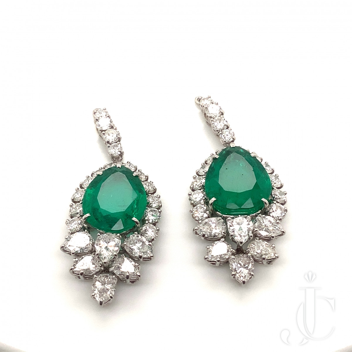 A Pair of Columbian Emerald and Diamond Earrings