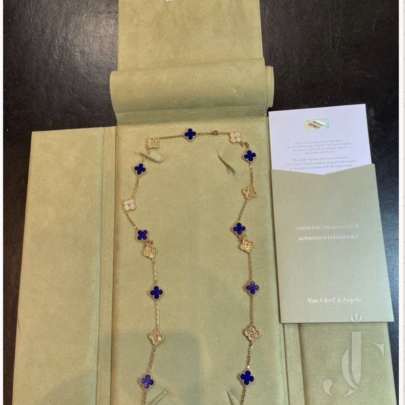 VCA limited edition sevres porcelain and gold diamond 20 motif Alhambra necklace