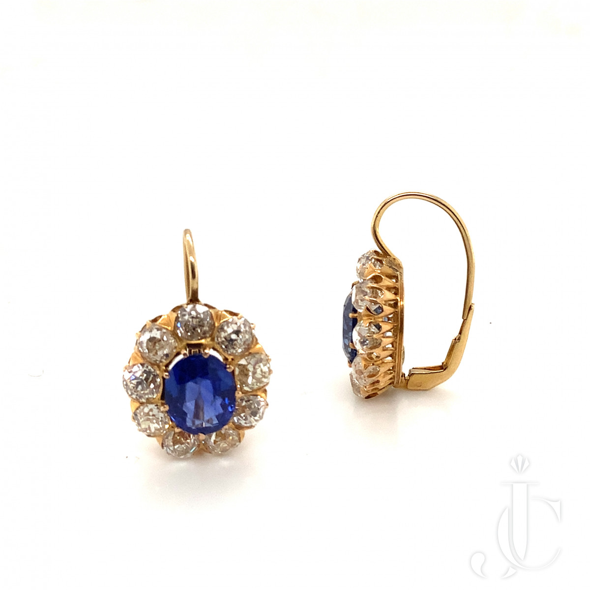 A Pair of Victorian Unheated Sapphire and Diamond Earrings