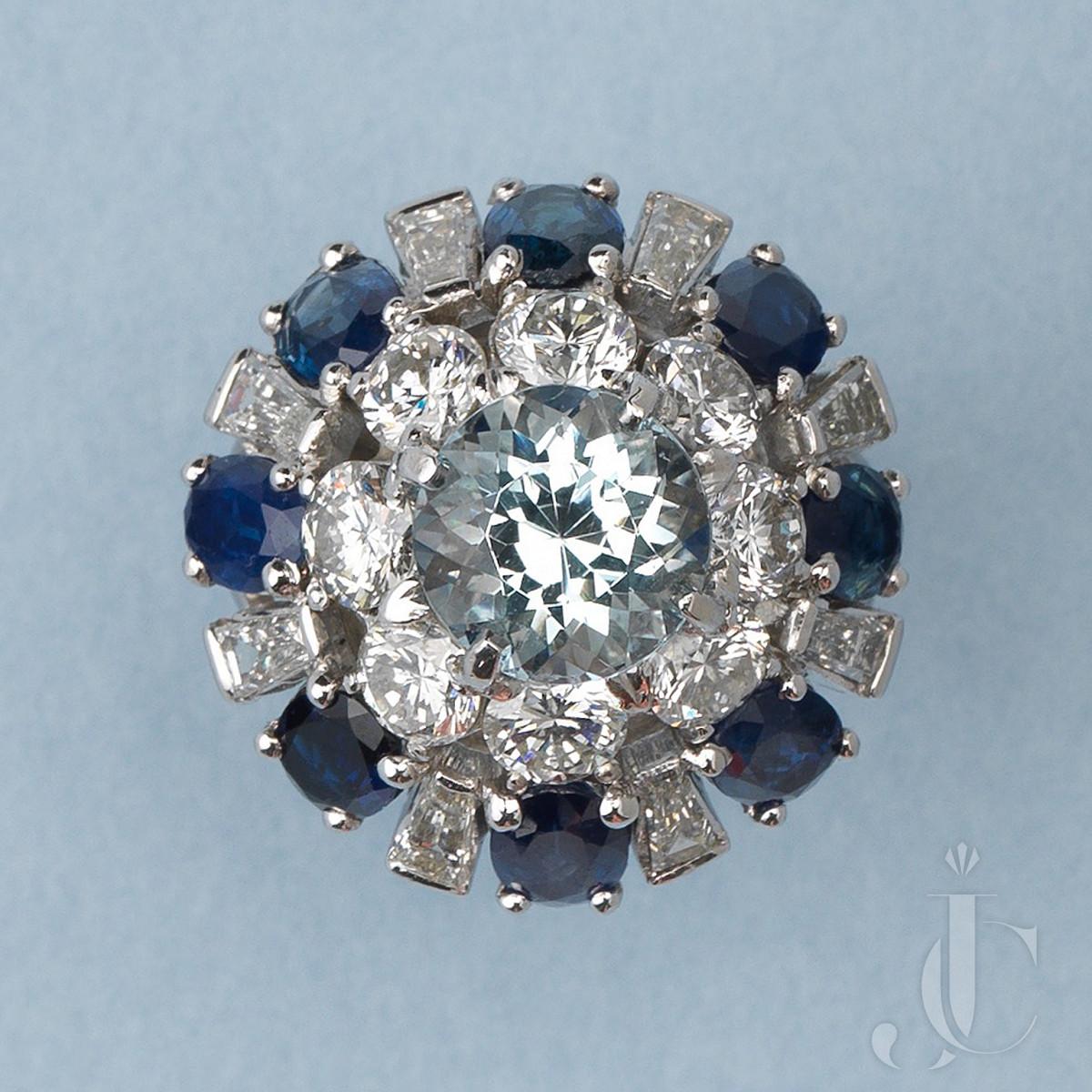 Bombe Diamond Sapphire and Aquamrine Platinum Ring