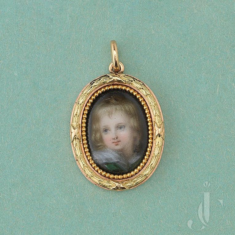 gold and porcelain portrait miniature by Louis Wièse