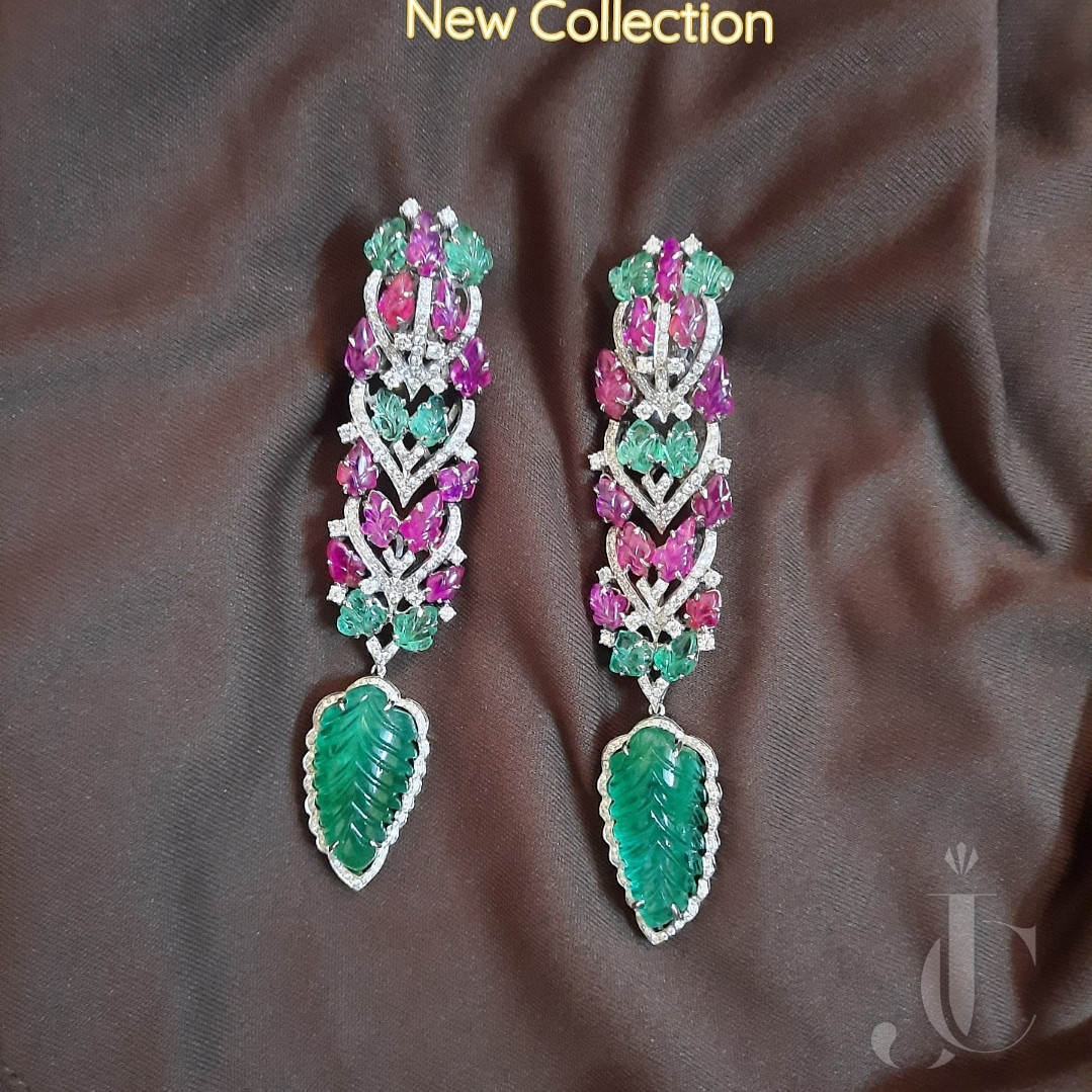 Natural Emerald Ruby and Diamonds Carved Earrings